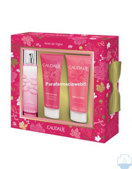 Caudalie cofre rose de vigne  colonia 50 ml + gel de ducha 50ml + tratamiento corporal 50ml