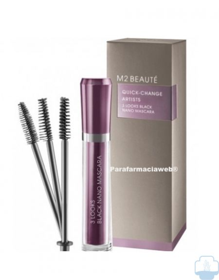 M2 beaute 3 looks black nano mascara de pestañas