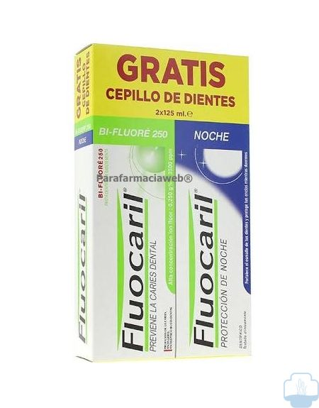 Fluocaril pasta dentifrica dia y noche pack 2x125 ml + regalo cepillo