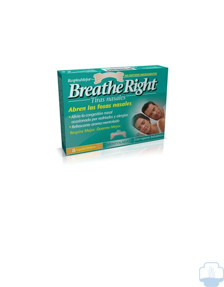 Breathe right tiras nasales mentoladas mediana 8 und