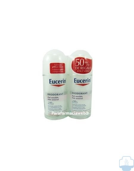 Eucerin desodorante piel sensible roll on 24h duo