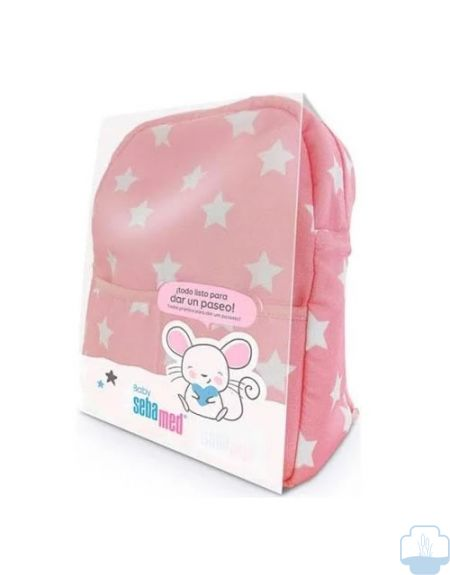 Sebamed baby mochila con productos color rosa