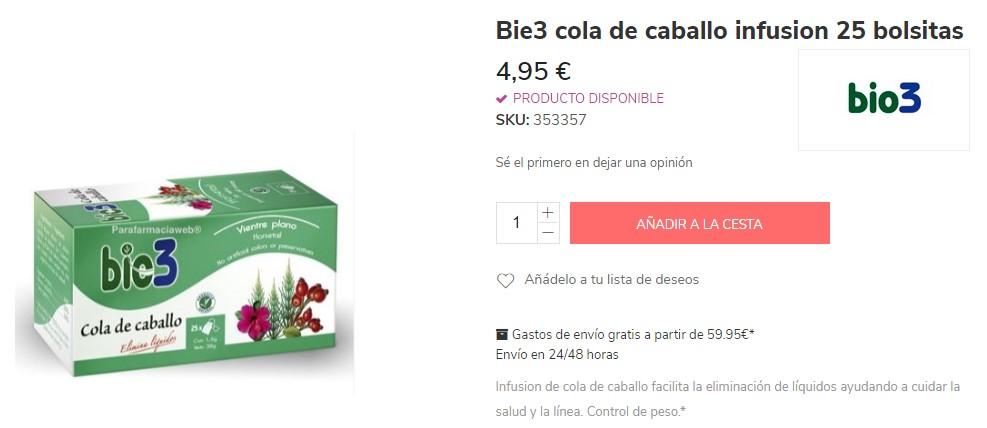 Bie3 Infusiones para perder volumen de farmacia