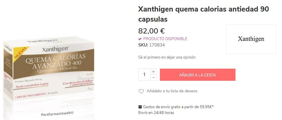 Xanthigen quema calorías de farmacia para adelgazar